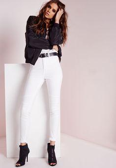 Missguided - sinner high waisted skinny biker jeans white