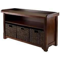 $160 Winsome Trading Granville Storage Bench with 3 Small Baskets in Antique Walnut/Chocolate