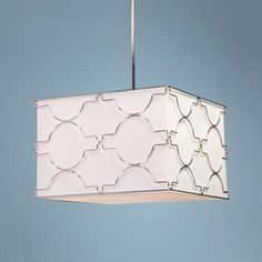 A sleekly graphic wire pattern gives the white shade of this modern pendant light a fresh and updated look. high x wide x 10 deep. Style # at Lamps Plus. Modern Pendant Light, Glass Diffuser, Home Decor Inspiration, Chrome, Arts And Crafts, Bulb, Ceiling Lights, Contemporary, Lighting