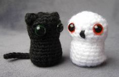 Owl and cat free crochet pattern. These guys are small, quick (1-2 hours) and adorable. I added a pink :3 face to the cat.
