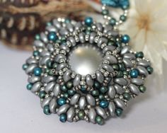 Pendant Keira - Light Grey & Aqua, Superduos, Druk Beads, Seed Beads by CzechLaVie on Etsy
