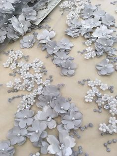 Gray lace fabric Luxury Beaded Lace Fabric hand made pearl beads flowers French Lace gray Embroidered lace Wedding Lace Tambour Beading, Tambour Embroidery, Couture Embroidery, Embroidery Designs, Ribbon Embroidery, Beaded Lace Fabric, Bridal Lace Fabric, Embroidered Lace, Bordados Tambour