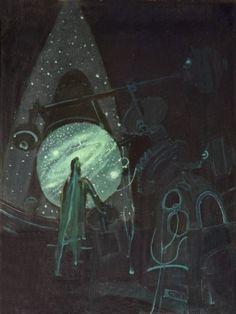 František Hudeček, Hvězdář / Stargazer, oil on wood, 1943