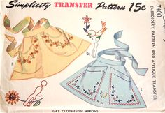 PRETTY Clothes Pin Aprons Pattern SIMPLICITY 7400 CUTE Style Includes Pattern,Embroidery and Applique Transfer Vintage Sewing Pattern UNCUT-Authentic vintage sewing patterns: This is a fabulous original dress making pattern, not a copy. Vintage Apron Pattern, Retro Apron, Vintage Dress Patterns, Aprons Vintage, Apron Patterns, Sewing Aprons, Sewing Clothes, Clothespin Bag, Childrens Aprons