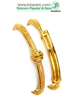 22K Fine Gold Baby Bangles - Set of 2 (1 pair) - B-GBL470 - Indian Jewelry from Totaram Jewelers