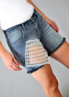 FREE SHIPPING hand made Lace jean shortsHigh by colorfulpatterns, $60.00
