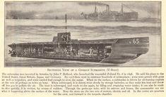 Sectional view of a German submarine (U-boat). World History, World War Ii, German Submarines, Dieselpunk, Wwi, Warfare, Great Britain, Travel Style, Archaeology