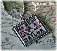 My Hero Is A US Navy Sailor pendant necklace by Son and Sea Free US Shipping
