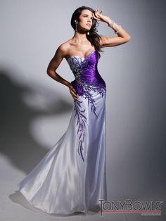 Tony Bowls Evenings TBE11328 Purple White Feminine Prom Dress