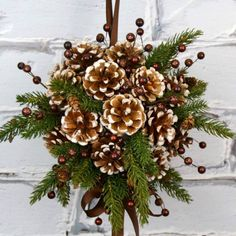 Wreath alternative: a pine cone DIY Kissing Ball!   #Christmas #holidays  https://www.facebook.com/groups/HandyMoms/