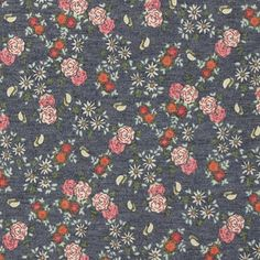 "Small Roses on Denim Blue French Terry Blend Knit Fabric - Gorgeous fabric!  A drapey and soft cotton french terry spandex blend with small pink and burgundy roses and other flowers on a background color of denim blue.  Medium weight with a smooth top surface, low bottom loop pile, good drape, and 4 way stretch.  Roses measure 1/2"" (see image for scale).  ::  $7.25"