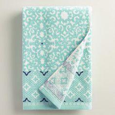 One of my favorite discoveries at WorldMarket.com: Aqua Mist Aurora Jacquard Bath Towel