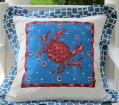 Happy Red Crab Beach Pillow