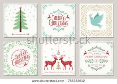 Ornate square winter holidays greeting cards with New Year tree, reindeers, Christmas Dove, typographic design, floral and swirl frames. Merry Christmas And Happy New Year, Merry Xmas, Christmas Images, Christmas Cards, New Years Tree, Typographic Design, Holiday Greeting Cards, New Year Card, Illustration