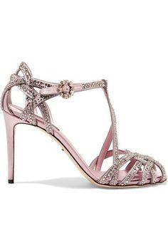 €1195 DOLCE   GABBANA Keira crystal-embellished satin sandals €1,195 Roze  Sandalen, 59d7cc4a15cb
