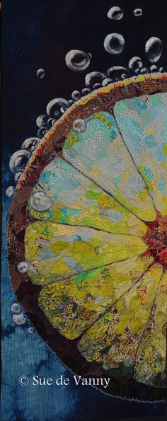 Limelight - Art quilt for A world of colour exhibition 2014 Lime fabric collage appliqued to hand dyed backing fabric, thread sketched, quilted and painted bubbles 40 x 100 cm