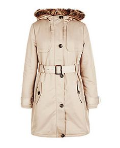 Camel Faux Fur Trim Hooded Parka Trench Coat | New Look
