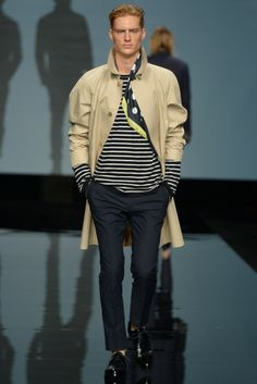 Ermanno Scervino Men's RTW Spring 2015 - Slideshow  Like coat and top color combinations and design silhouettes.