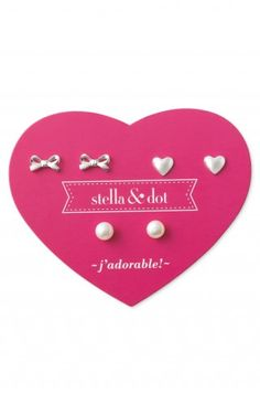 Stella & Dot Mini Pearl Trio Earring Set A ribbon bow, freshwater pearl and heart trio pack. Perfect for a special occasion or everyday. 5-6mm studs. Featherweight. Sterling Silver. Lead and nickel safe.