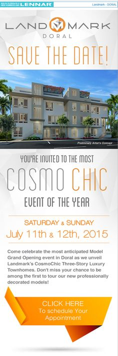 Visit Landmark Doral for its model opening of 3 story townhomes!  July 11th - 12th #doral #newhomes