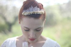 Bridal pearl tiara - in this beautiful wedding tiara I have combined hand-cut tulle veil leaves with dozens of fresh water pearls, beads and