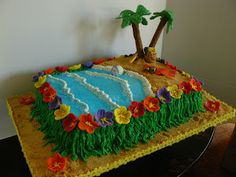 Made these cakes for a wonderful preschool in the area. They had a luau theme end-of-the-year party. This was split into two different cel...