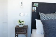 Brad and Lara from The Block's guest bedroom - rustic bedside table