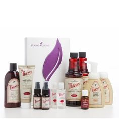 Premium Starter Kit W/ Thieves | Young Living Essential Oils  Young Living is proud to offer a complete line of home and personal care products infused with the pleasant, spicy aroma of our proprietary Thieves® essential oil blend! This Starter Kit is ideal for those wishing to replace harmful chemicals in the home with powerful, natural alternatives.  Includes: Thieves 15ml, AromaBright, Mouthwash, 2 Cleaner, 2 Foaming Handsoap, 2 Spray, 2 Hand Purifier and Member Kit.  $150.00