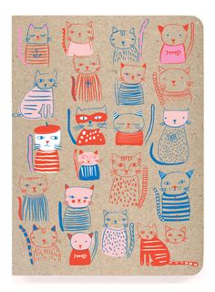 "JOURNALS :: Notebooks with Perfect Binding :: 6x8"" perfect bound :: French Cats perfect bound - Ecojot - eco savvy paper products"