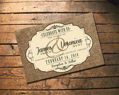 Wedding Invitation - Burlap Rustic Elegance