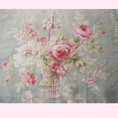 Rag Rescue - Gorgeous faded shabby chic French roses cretonne fabric. - 13A2