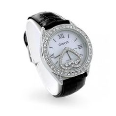 Bling Jewelry Geneva Floating Heart Crystal Black Leather Strap Fashion Watch