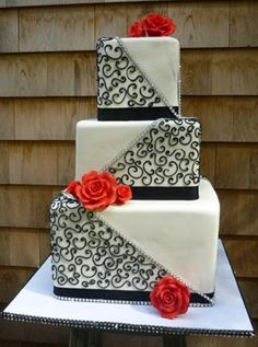 contemporary guava black and white wedding cake by Artisan Bake Shop Square Wedding Cakes, Themed Wedding Cakes, Wedding Cakes With Flowers, 50th Wedding Anniversary Cakes, Black And White Wedding Cake, Our Wedding, Fall Wedding, Wedding Stuff, Valentines Day Weddings