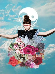 illustration photography claire boucher montage florals flowers yin and yang claire boucher grimes lift nirvana photoshop