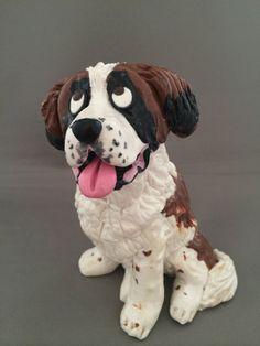 Saint Bernard dog figurine by HoundsofHope on Etsy, $44.00