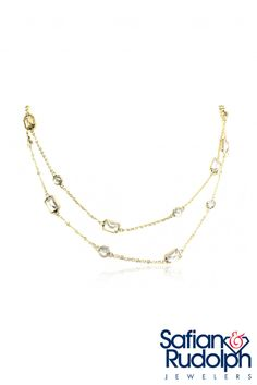 14K Yellow Gold & White topaz necklace by Sophia by Design. 34\