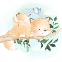 Cute Foxy Father And Son Hanging In The Tree - Annabell Cute Animal Illustration, Family Illustration, Animal Illustrations, Fantasy Illustration, Digital Illustration, Illustrations Posters, Nursery Drawings, Boat Cartoon, Fathers Day Banner