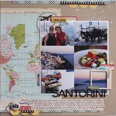 Nice travel layout..like how she used the map. Todo lo que necesitas para scrapbooking y manualidades está en mitiendadearte.com
