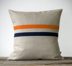 Orange and Navy Striped Pillow - 16x16 - Modern Home Decor by JillianReneDecor - Colorful Colorblock Stripes (More Colors) - Back to School