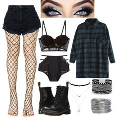 Designer Clothes, Shoes & Bags for Women Grunge Outfits, Cute Emo Outfits, Edgy Outfits, Teen Fashion Outfits, Swag Outfits, Hippie Outfits, Egirl Fashion, Fashion Looks, Grunge Fashion