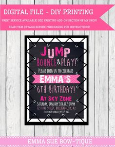 Jump invitation printable or printed with free shipping jump trampoline party personalized birthday invitation digital file tramp pnk23 filmwisefo
