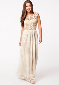 Apricot Sleeveless Floral Crochet Lace Maxi Dress - Sheinside.com  Love and need this dress before summer