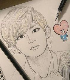 Girl Drawing Sketches, Cool Art Drawings, Pencil Art Drawings, Taehyung Fanart, Bts Aesthetic Pictures, Kpop Drawings, Bts Chibi, Kpop Fanart, Anime Art Girl
