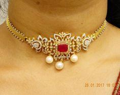 Diamond Necklace Diamond Necklaces / Chokers - Diamond Jewelry Diamond Necklaces / Chokers at USD And GBP Gold Bangles Design, Gold Jewellery Design, 1 Gram Gold Jewellery, Gold Jewelry Simple, Diamond Necklaces, Diamond Jewelry, Diamond Pendant, Necklace Set, Jewelry Necklaces