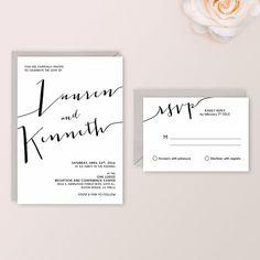 Lauren Suite - Digital - Printable-DIY Wedding Invitation , calligraphy, Black white , Simple