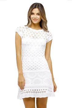 Vestido-Tricô-Furinhos-Detalhado-branco | Galeria Tricot - Galeria Tricot