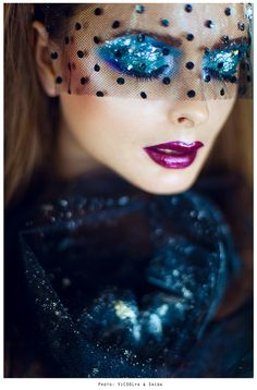 Glamour Girls...glitter eye shadow and pink lips...beauty and cosmetics (makeup)