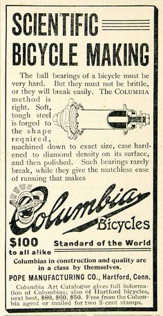 1896 Ad Columbia Bicycles Scientific Making Ball Bearing Mechanical Part Vintage Bicycles, Print Ads, Hand Tools, Columbia, Om, Posters, Bear, Antique, Print Advertising