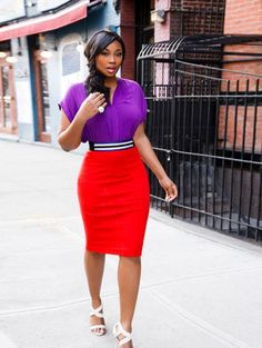 Use the silhouette to play with what you already have in your closet. Want to tone it down? Keep the pencil skirt and go with a more neutral top. Or, keep the top and go with a more neutral skirt. The belt is going to bring the eye right to the most narrow part of your body and the neutral heel, be it a pump or sandal, is going to elongate without fail. #whattowear #weartowork source:styleblazer.com