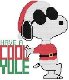 Cross Stitch Knit Crochet Plastic Canvas Waste Canvas Rug Hooking and Bead Work Pattern Peanuts Snoopy Joe Cool says Have a Cool Yule!  https://www.pinterest.com/resparkled/